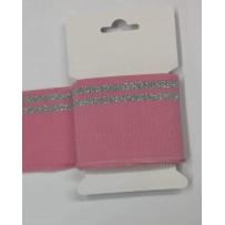 RIB juosta 7cm rožinė/sidabrinė 155cm