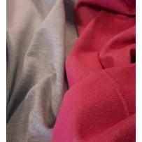 Kilpinis trikotažas dvipusis pilkas melanžinis su  fuksijos spalvos kilputėmis