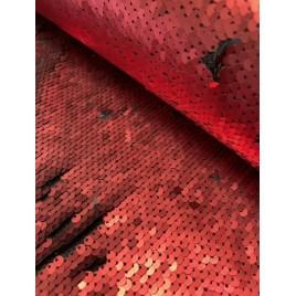 Medžiaga su žvyneliais dvipusiais raudona/juoda
