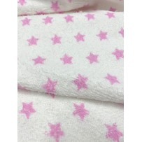 Frotinis trikotažas baltas su rožinėmis žvaigždėmis