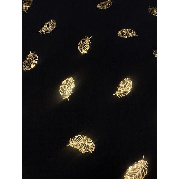 Garinta medvilnė- marlė (double gauze) juoda su auksinėmis plunksnomis