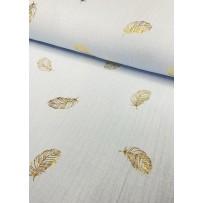 Garinta medvilnė- marlė (double gauze) pastelinė žydra su auksinėmis plunksnomis