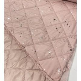 Striukinė dygsniuota medžiaga rožinė su sidabrinėmis žvaigždėmis