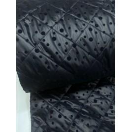 Striukinė dygsniuota medžiaga tamsiai mėlyna su taškiukais