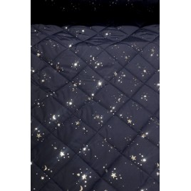 Striukinė dygsniuota medžiaga tamsiai mėlyna su sidabrinėmis žvaigždėmis